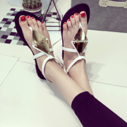2015 new female summer flat with Korean leisure shoes flat sandal fashion at the end of the Roman school Sandals tide
