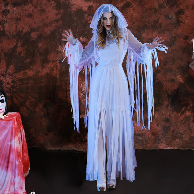 Halloween Costume female ghost bride long play dry zombie vampire white ghost role play costume