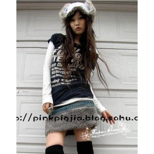 2014 autumn and winter new women s sweet plush fur fluff flash Slim thin denim skirt skirts skirt