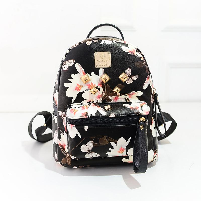 AI nice женской средней школы учащихся летом 2015 всплеска рюкзак Холст мини-мешок колледжа ветра часы цветок сумка