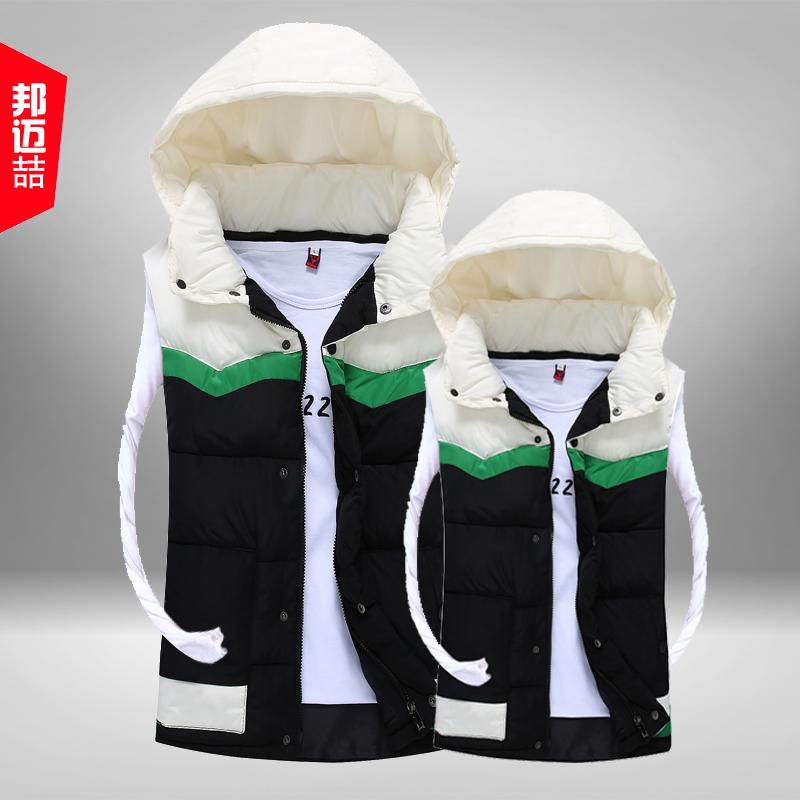 Bangmai же мода случайных пара сращивания жилет с капюшоном Пальто Жилет мужской жилет куртки Мужские зимние
