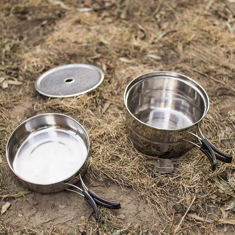 野餐餐具不鏽鋼套鍋戶外廚具套裝便攜野營炊具露營野炊用品蒸鍋具