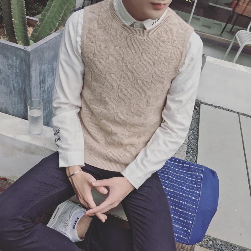 無袖男士青少年針織坎肩
