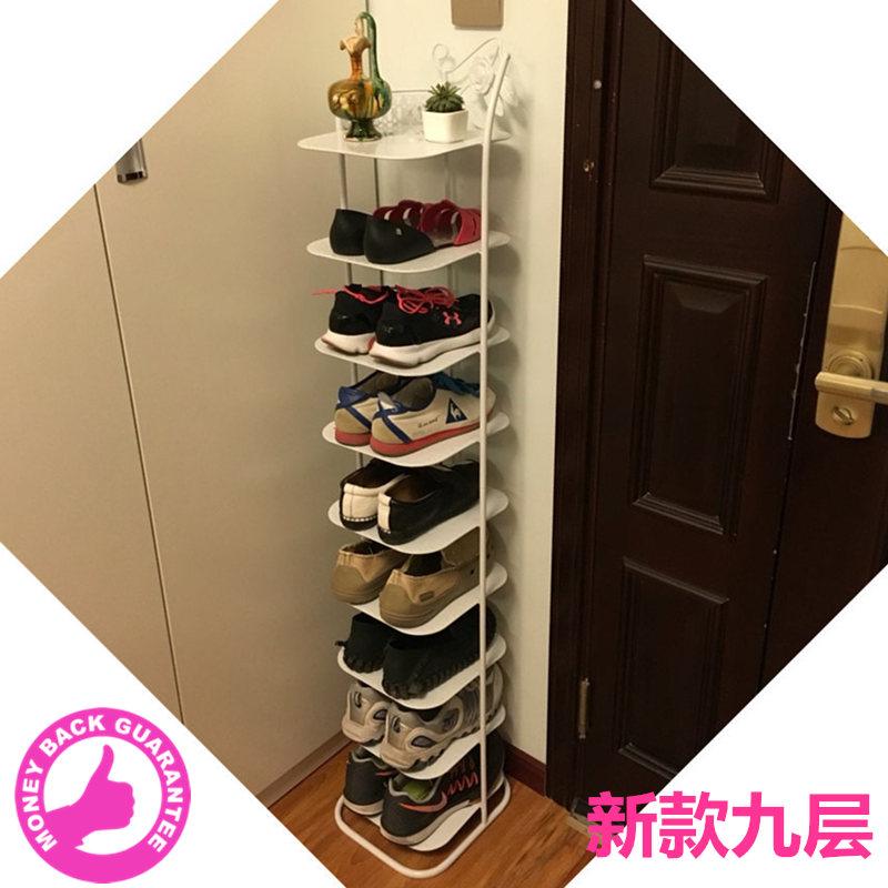 省空间 防尘九多层收纳金属简易小鞋柜子经济型家用客厅铁艺鞋架