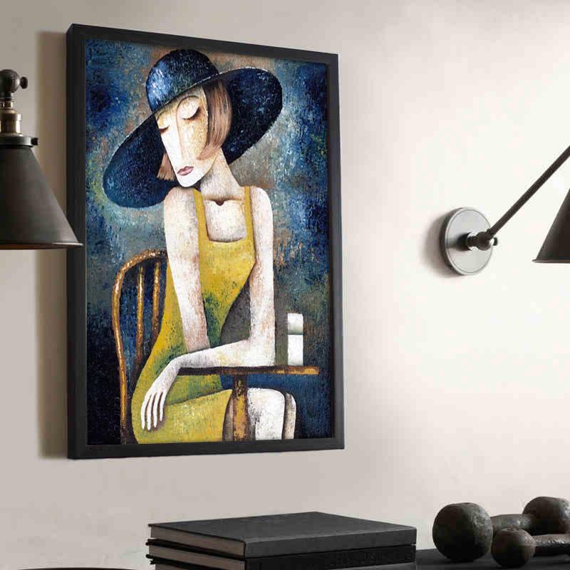 北歐裝飾畫 複古服裝店掛畫歐式掛牆 人物抽象油畫壁畫