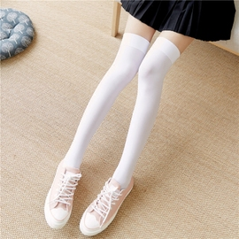 日系过膝袜中高筒长袜子女学生半截小腿袜黑白色丝袜韩国春秋薄款