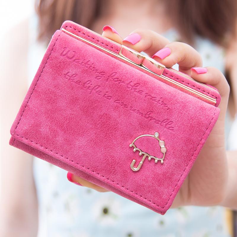 金多儿短款钱包女2015韩版英文字母小雨伞磨砂小钱包女短款可爱潮