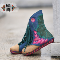 Chinese dance retro shoes with high boots national wind spell color layer flat casual lace embroidered shoes by the end of autumn flowers