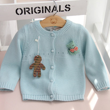 Girls cotton long sleeve sweater knitting cardigan children female baby small coat of coarse needle 2015 new autumn wear children's wear