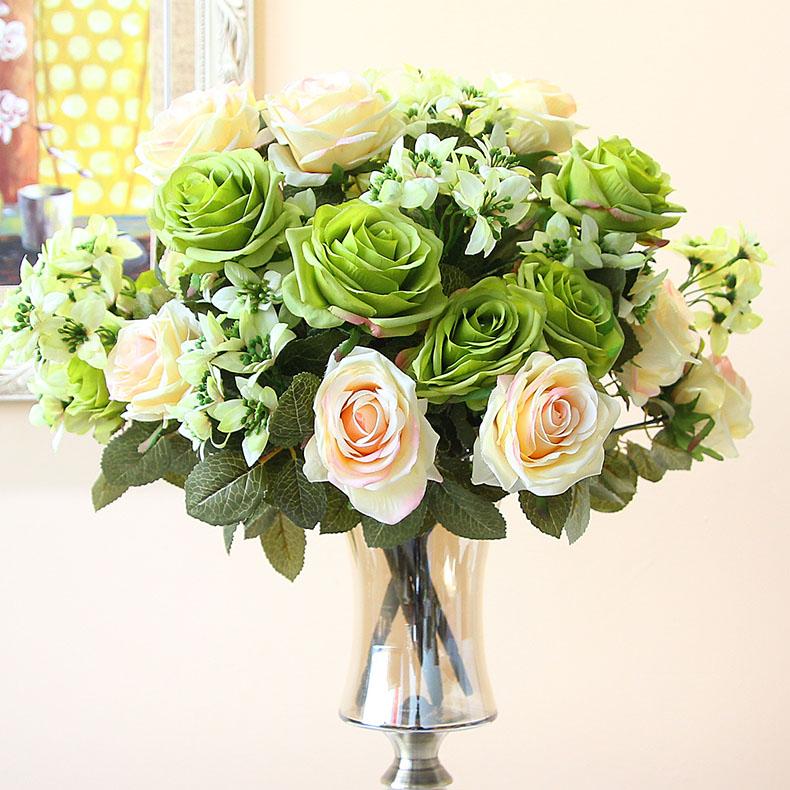 歐式仿真玫瑰花室內客廳電視櫃餐桌假花擺設花瓶花器套裝花藝擺件