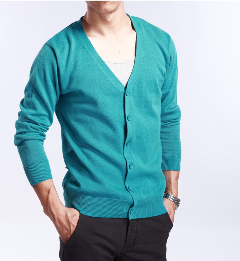 2019 spring and autumn Korean version solid V-Neck Sweater Coat mens Cashmere Cardigan Sweater thin large loose fit