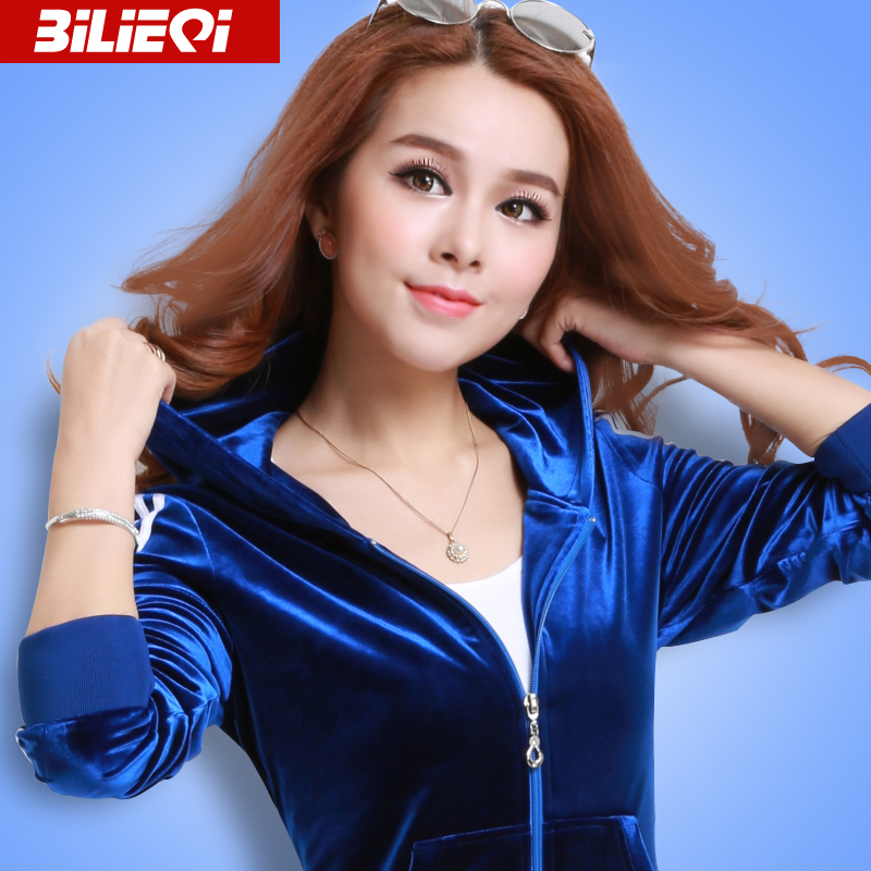 必列奇2019新款春季金丝绒套装女韩版运动服女士休闲运动衣套装