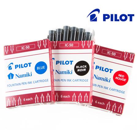 日本pilot百乐IC-50墨囊 黑蓝红色6支装墨胆78g贵妃笑脸钢笔儿童