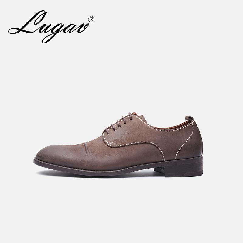 LUGAV哥特风皮鞋男 商场同款高档男鞋英伦复古男士尖头皮鞋进口皮