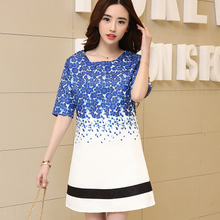 Enid Amy new summer 2015 5 minutes of sleeve jacquard printing large size ladies elastic waist skirt in leisure clothes