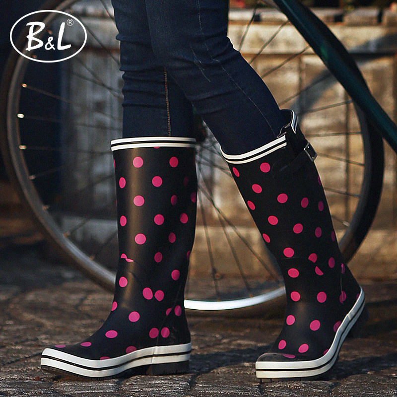 B&L秋冬款高筒雨鞋女式韩时尚橡胶雨靴防滑防水耐磨成人水鞋胶鞋