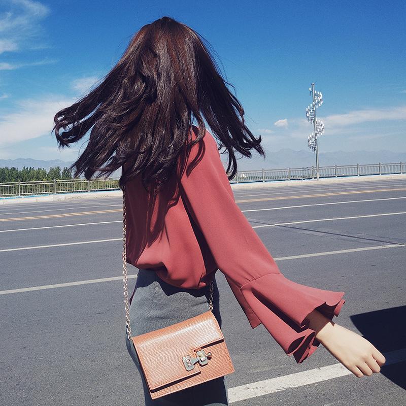 谜秀衬衫女2019秋装新款女装韩范长袖心机雪纺上衣衬衣女装 潮