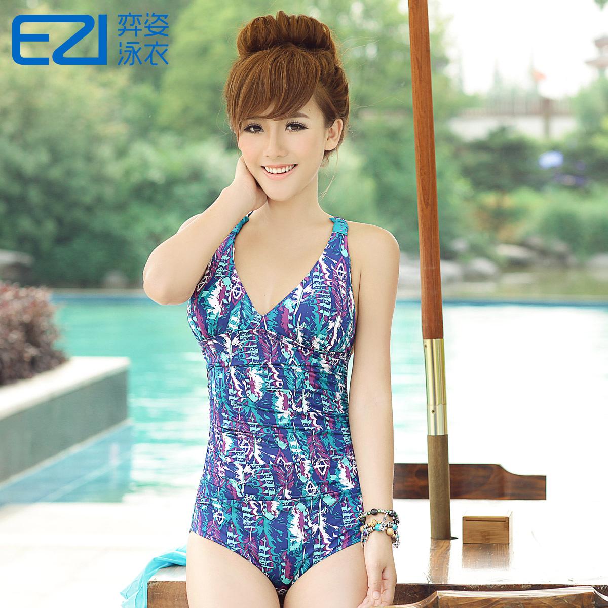 Yi Zi EZI горячий источник купальный костюм стиль печати небольшой груди собрал цельный Maillot имеет код: 1064