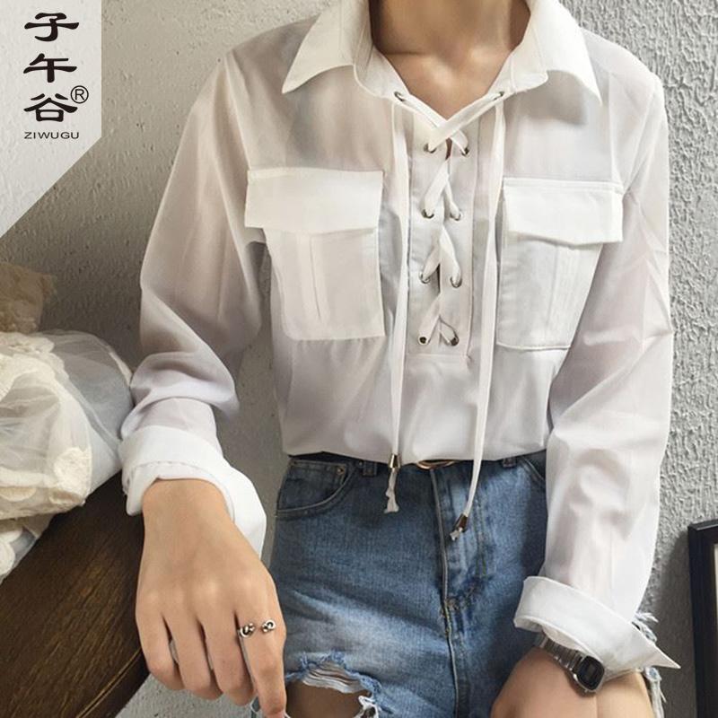 複古韓國chic小女人味氣質款領口綁帶雙口袋長袖襯衫雪紡衫上衣女