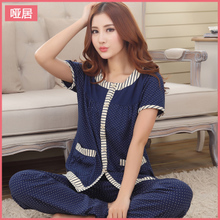 Pajamas women's cotton short sleeve summer suits middle-aged woman thin slacks in elderly mother household to take