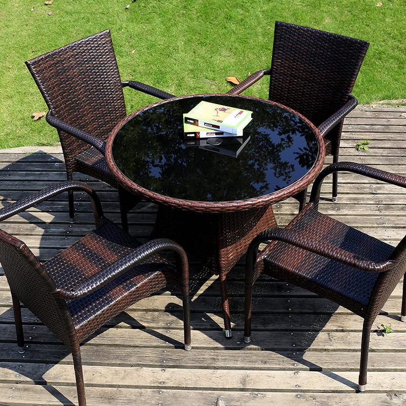 戶外桌椅藤椅三件套庭院花園室外 桌椅鐵藝茶幾五件套陽台桌椅