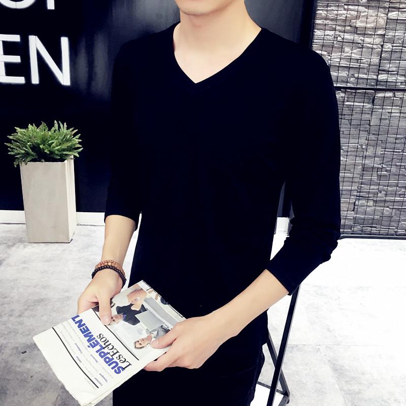 詠眠 男士純色V領長袖T恤 修身 上衣 黑色打底衫 男裝