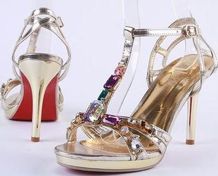 Women sandals 2015 new shoes gold crystal high heels fine with waterproof sandals fashion sexy star