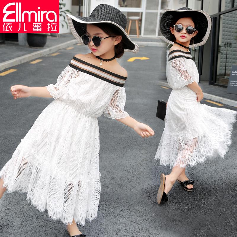 Девочки платье ребенок платье кружева юбка детские короткие рукав 2017 новая девушка заправила лето корейский платье принцессы наряд