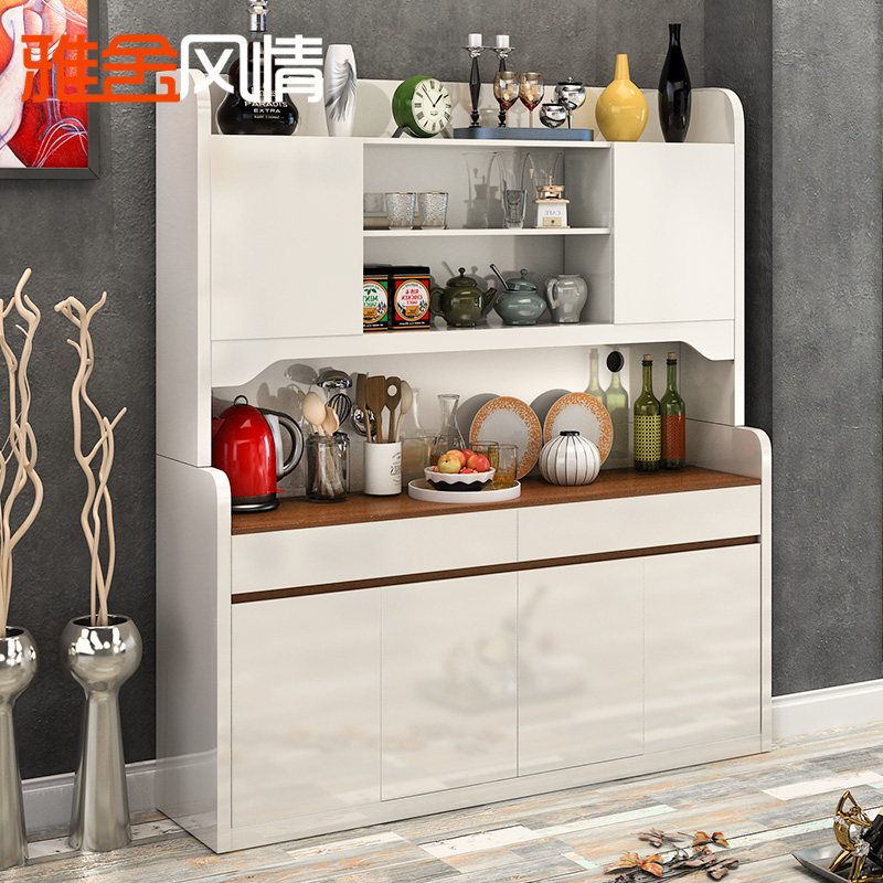 雅舍風情餐邊櫃微波爐廚房櫃子高餐櫃碗櫃大儲物櫃 簡約白色