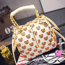 The new spring, summer, autumn 2015 han edition retro package printing bear bucket hand carry bag mail parcel one shoulder aslant female bag