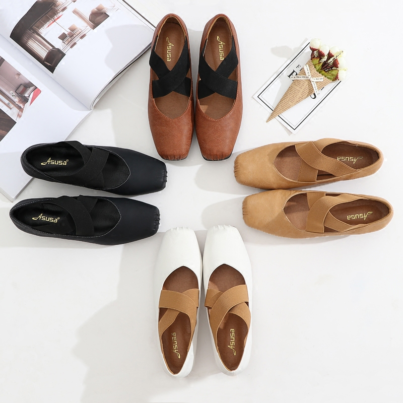 2020 New Retro granny shoes square toe thick heel medium heel single shoes womens leather strap ballet shoes flat shoes