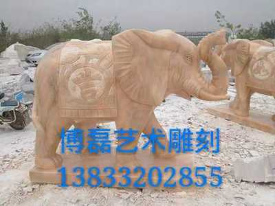 Stone carving elephant sunset red lucky fortune elephant pair auspicious like image animal carving villa hotel entrance decoration