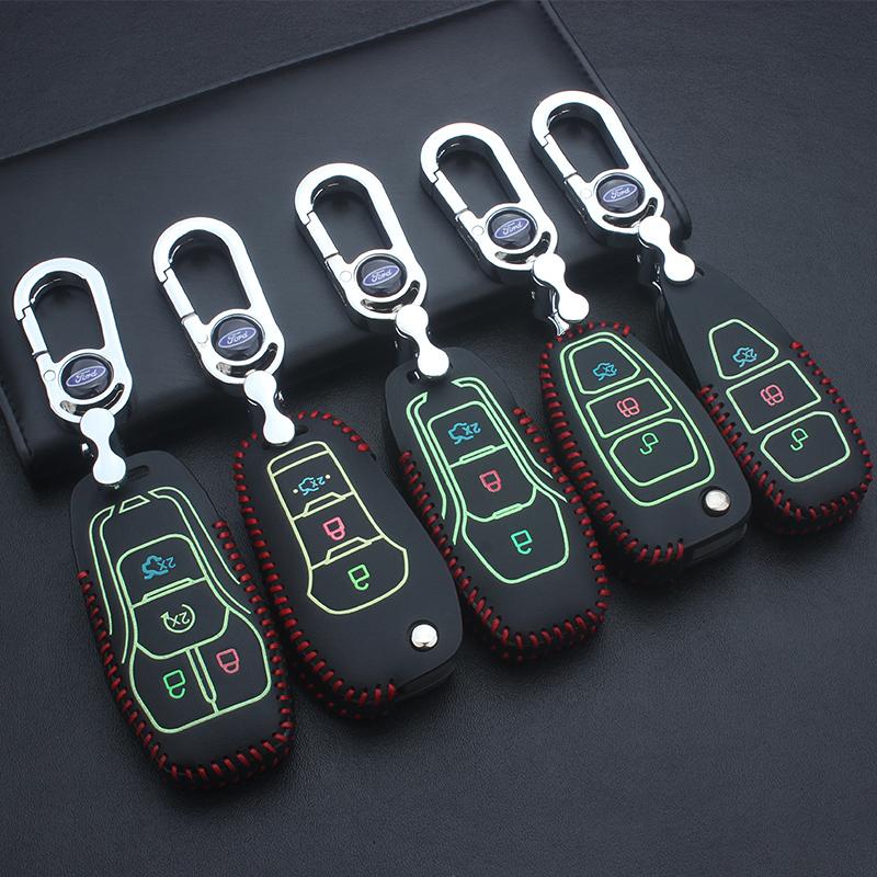 福特新福克斯蒙迪歐銳界翼虎嘉年華福睿斯金牛座夜光汽車鑰匙包套