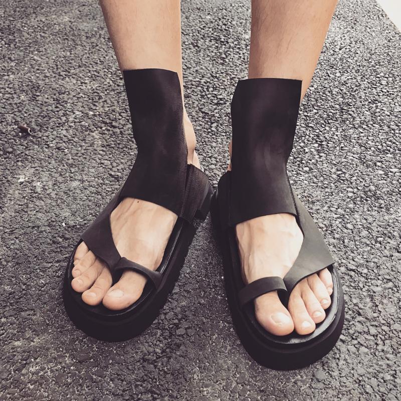 奈瑟原宿暗黑风罗马凉鞋男潮夏季软底真皮韩版男款港风潮流罗马鞋
