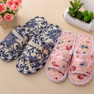 居家用纯棉布艺布底拖鞋男女秋冬季室内不伤木地板静音超软底拖鞋