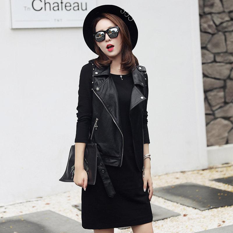 European station 2016 new winter clothing brand womens casual fashion versatile dress leather jacket