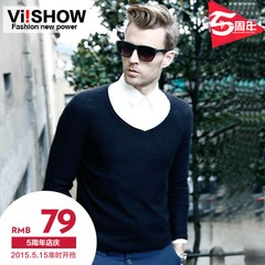 Viishow new men's sweaters sweaters men's v neck solid color slim long sleeve knit tops tide fall