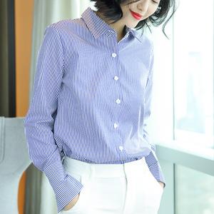 2018秋装新款洋气蓝白竖条纹衬衫女长袖韩版宽松休闲软妹polo衬衣