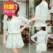 High quality original spring/summer 2015 product han edition sweet floral chiffon show thin sleeve round collar of dress