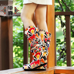 Chinese dance original sleeve high women's boots in China wind Facebook printing high single boots national wind quintessence
