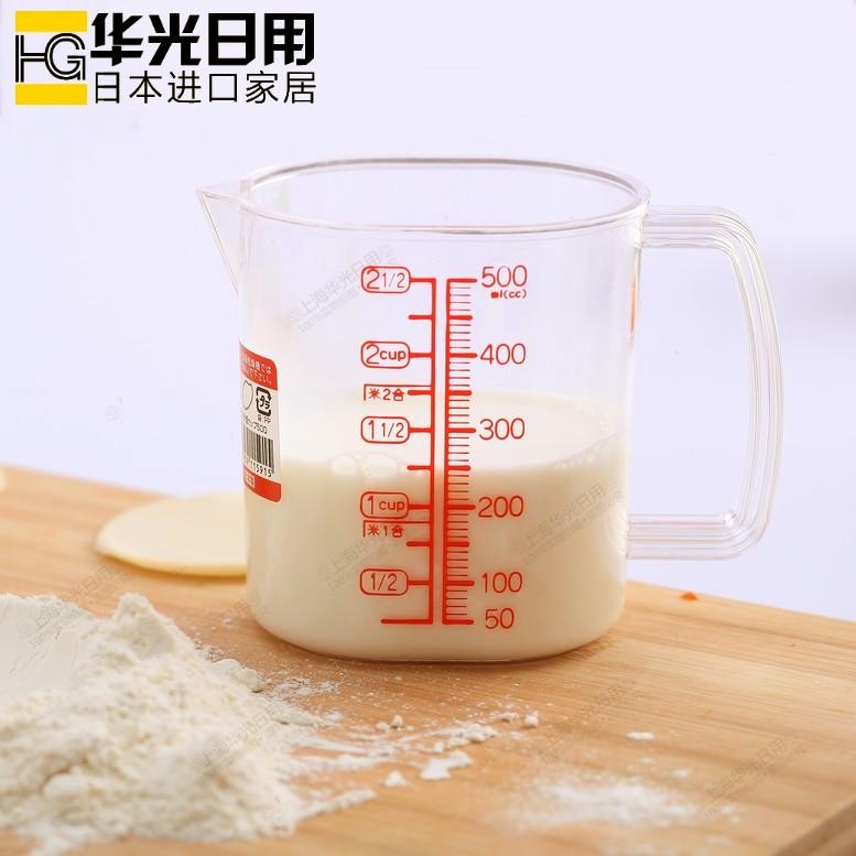 日本进口NAKAYA量勺 刻度米杯 量米杯 塑料量杯 500ML塑料计量杯