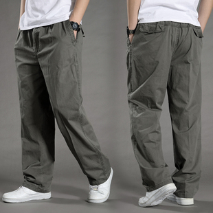 夏季新款男士休闲裤加肥加大工装裤薄款宽松特大码松紧腰围肥佬裤