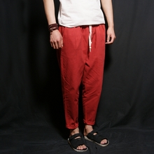 Chinese wind summer linen cotton pants nine points men's trousers Men's wear loose thin kind of casual pants straight linen trousers
