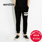 Westlink/West fall 2015 the new black and white stripe DrawString Jersey knit pants your foot guard Pant men's pants
