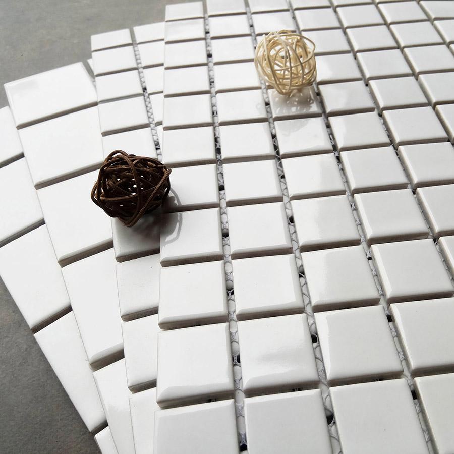 陶瓷马赛克小方块瓷砖 白色釉面简约 厨房卫生间浴室地板砖墙砖