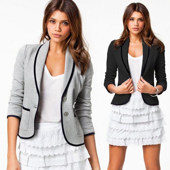 ebay速卖通欧美女装外套外贸百搭长袖夹克西装外套休闲外套