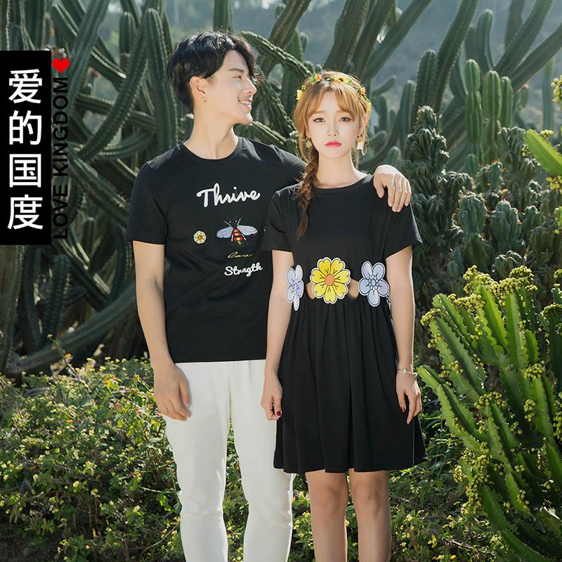 愛的國度 情侶裝2017 鏤空花女裙男女短袖T恤學生上衣