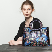 Beautiful Dragon original folk style high grade top layer leather flowers hand-painted leather handbag