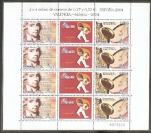2004 Spanish stamps, composer and Musical Instruments, version.