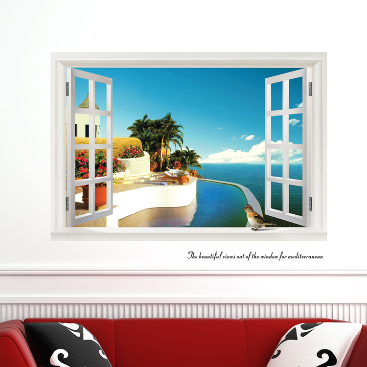 三代可移除墙贴 客厅房间卧室装饰背景墙贴纸墙纸壁贴画 窗外风景